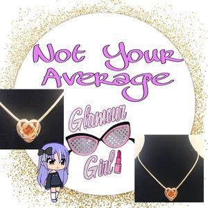 Petite Orange Heart with Gold Accent Necklace